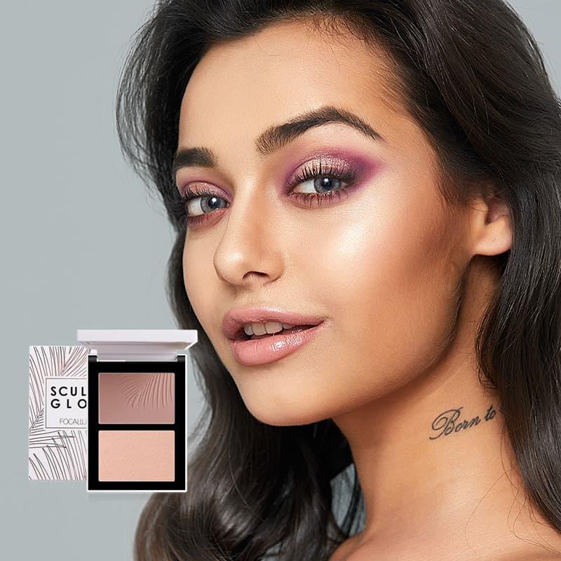 FOCALLURE Double Colors Highlighter&Contour Make Up Powder FA69 - FA69-03 thumbnail