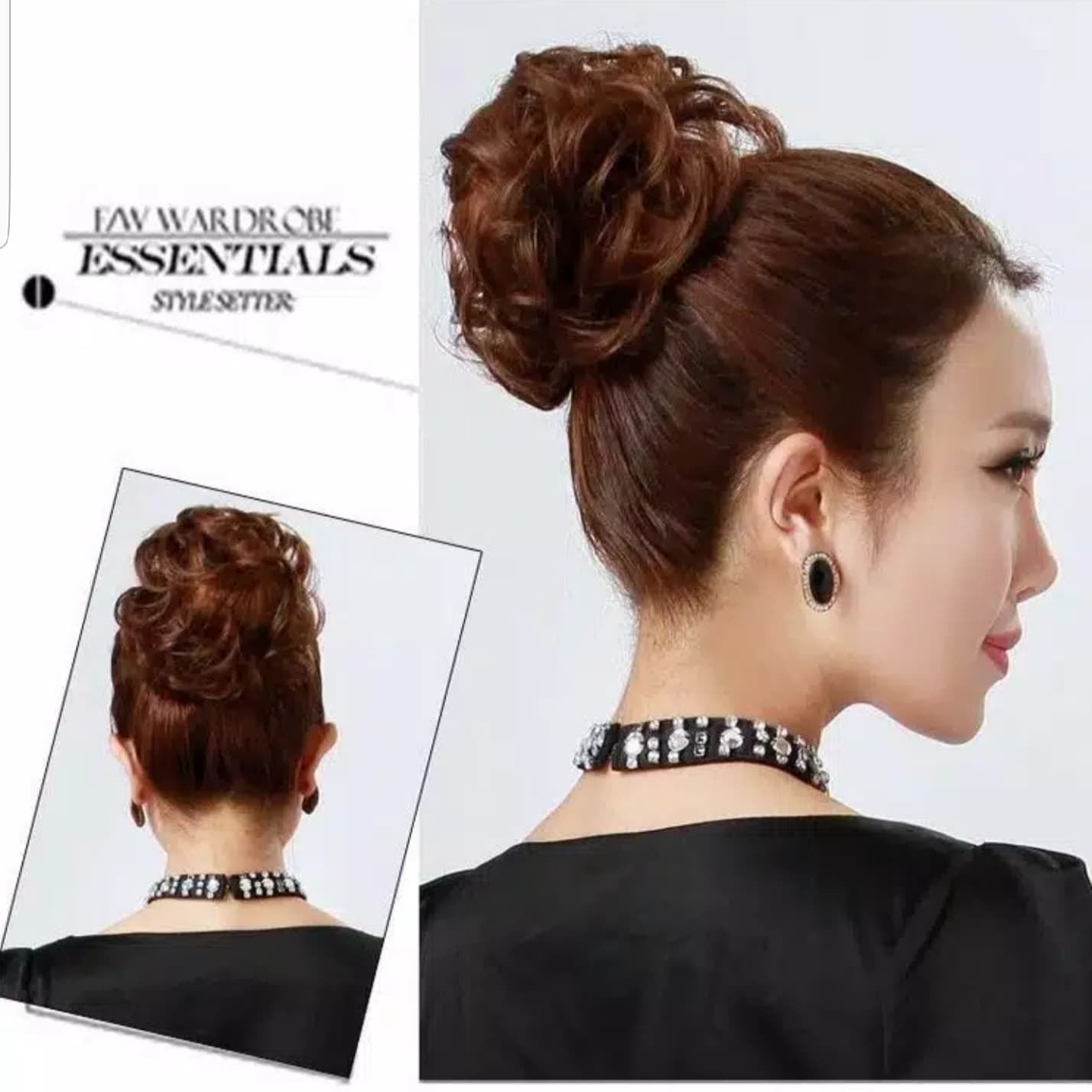 Ikat Rambut Elastis Wig Rambut Palsu Curly Wigs Hair Bun Extension - Black thumbnail