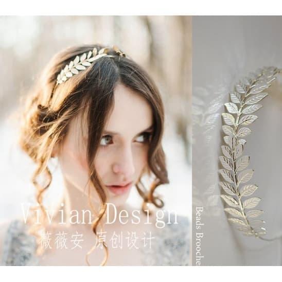 Bando Headpiece Wedding Pernikahan Gambar Daun Gold Elegan thumbnail