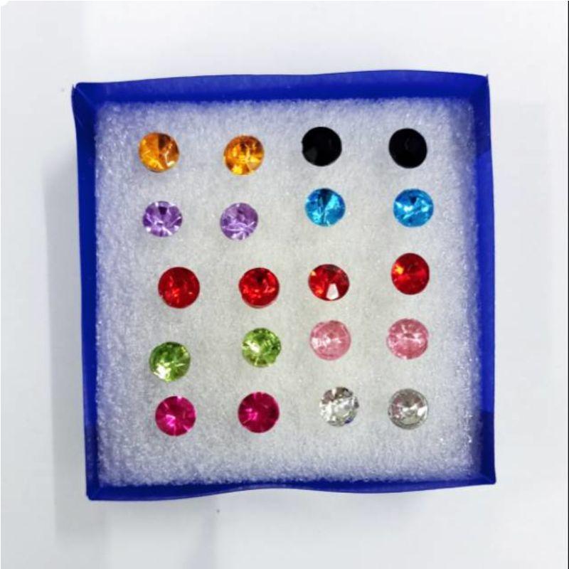 Anting permata plastik murah isi 10 pasang warna thumbnail