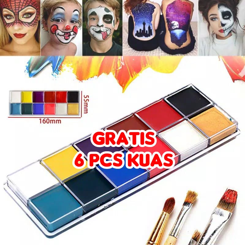 12 Warna Face Painting Body Painting DIY Face Make Up Cat Wajah thumbnail