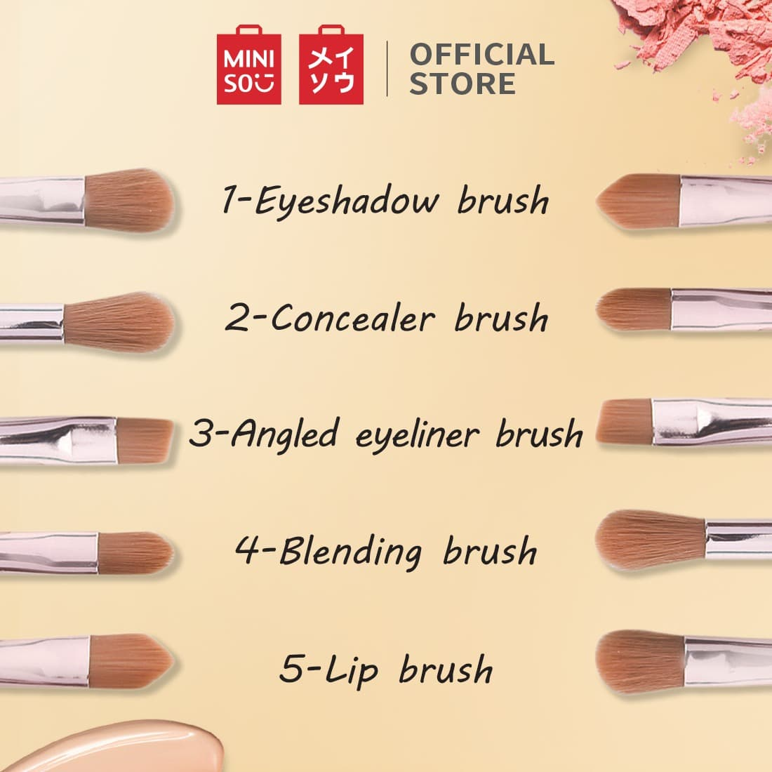MINISO Kit Kuas Makeup Brush Spons Kosmetik 5 Pcs Set Blush Mini - Gold thumbnail