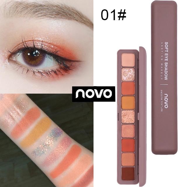 NOVO Palet Eyeshadow Palette 9 Warna 9 COLORS Glitter Shimmer Matte - NOMOR SATU thumbnail