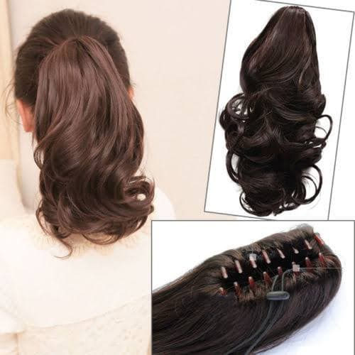 JEPIT PONYTAIL CURLY FAKE HAIR HAIRCLIP KERITING - hitam thumbnail