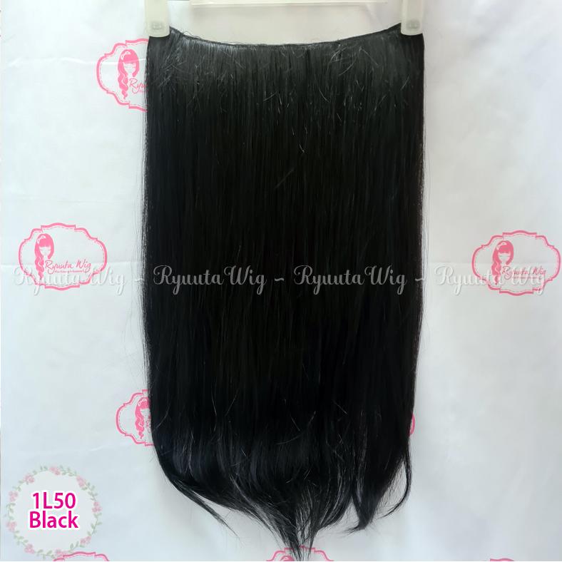 Hair Extension Clip Hairclip Long Straight Lurus Panjang BIG 1 LAYER - Black thumbnail